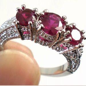 Jewelry - 10K white Gold Three Pink Ruby Ring 925
